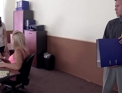 Gorgeous office sluts eating pussy get caught coupled with fucked!