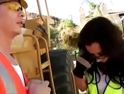 Jayden Jaymes Construction Worker bangs guy on construction site