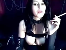Goth girl smoking her soul out on HOTNEWCAMS.com