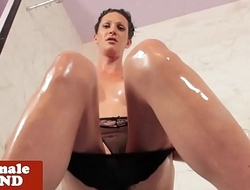 Bigtitted tattooed tgirl tugs before shower