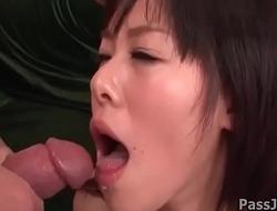 Lusty chick Miyuki Nonomura gags on two poles