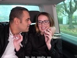 Hot secretary convinced with fuck in van with horny outsider