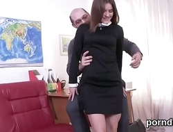 Erotic schoolgirl was tempted and fucked unconnected with her older teacher