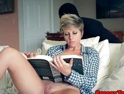 Cum tasting babe rides stalkers hard cock