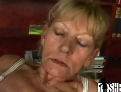 Dirty blonde grandma gets fucked before sucking stay away from younger guy'_s dick