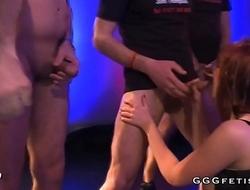 She licks his big erect dick and gets bukkakes