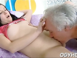 Old nasty dude copulates juvenile hole
