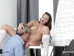 Lovely schoolgirl gets tempted and fucked by will not hear of senior mentor