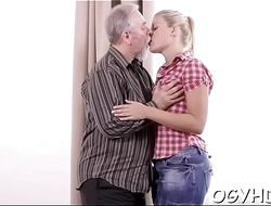 Young girl blows old pecker