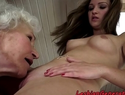 Hairy mature enjoys lesbiansex with cutie