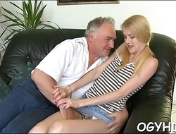 Hot young sweetie screwed by old guy