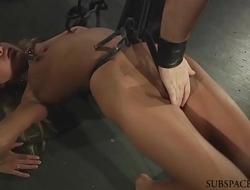 LIVE BDSM Rough punishment and kinky bondage threesome fuck live