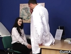 Flirty hottie gets cumshot on her face sucking all the spunk