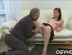 Young hottie licked by old chap