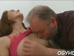 Nice young sweetheart licks old dick