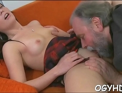 Young playgirl sucks and rides age-old knob