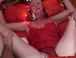 Facialized sub chick fucked in lingerie
