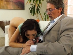 Lovely babe gets fucked hard by her grandpa's friend