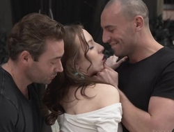 Cute rookie gets fucked really hard in MMF threesome