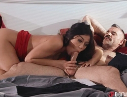 Asian battle-axe with natural boobs fucks Charles in bed