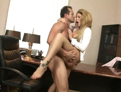 Fabulous chick in high heels pleasuring boss in his office