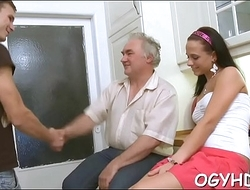 Horny old dude teases young chick