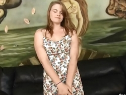 Petite redhead Ariel Stonem pukes on cocks and dp'_d